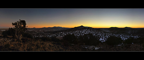 winter sunset panorama newmexico santafe lacieneguilla