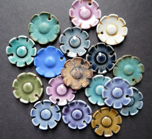 Porcelain flower pendants