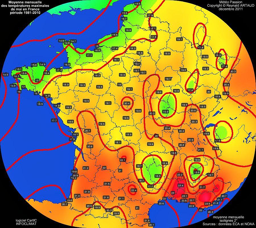 Moyennes mensuelles des temp�ratures maximales pour le mois de mai en France sur la p�riode 1981-2010