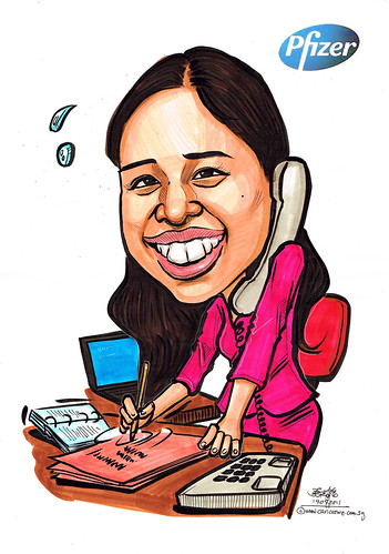 Personal assistant caricature for Pfizer