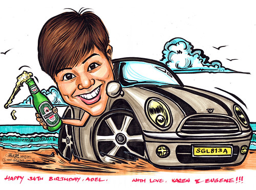 lady caricature with Heineken on Mini Cooper
