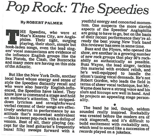 01-10-80 NYT Review - The Speedies @ Max's Kansas City