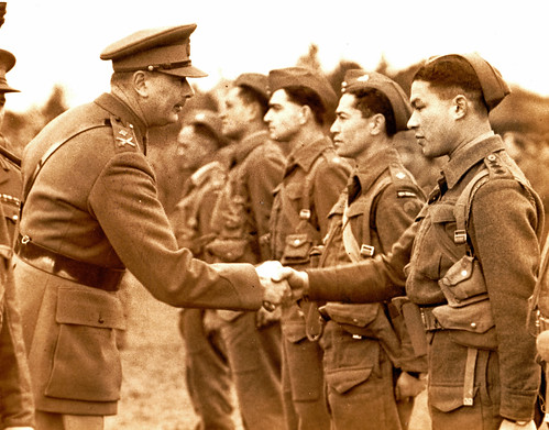 The Duke of Gloucester meets New Zealand Maori soldiers. 1940.