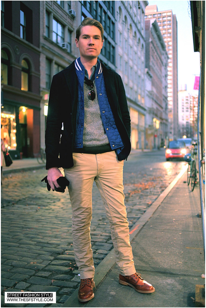 letterman jacket layers classic preppy timeless man morsel monday street fashion style brogue wingtips nyc new york