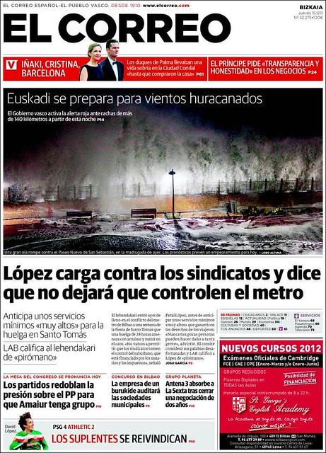 Portada El Correo Temporal diciembre 2011