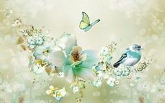 [フリー画像素材] グラフィック, フォトレタッチ, 花・植物, 鳥類, 蝶・チョウ ID:201112190600