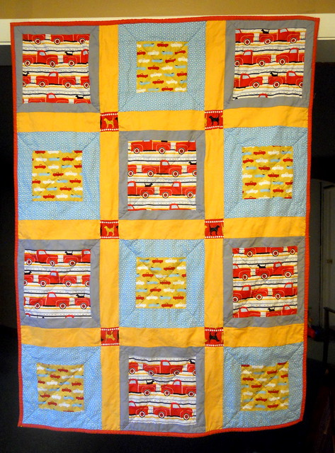 Pooches and Pickups baby quilt