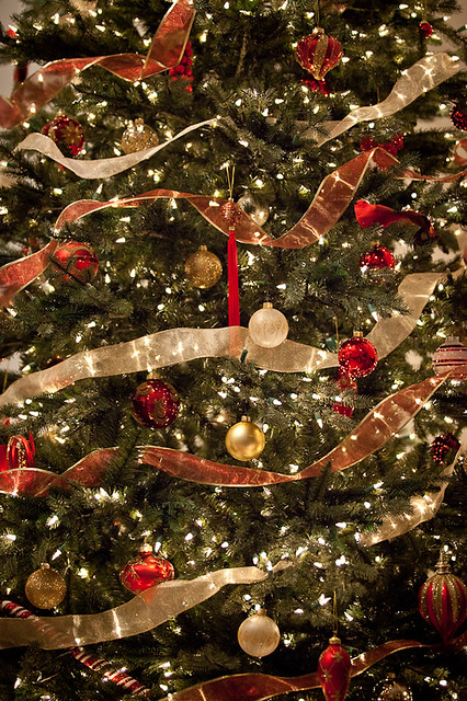 Christmas Tree Decorations Red Ribbon : Red and gold christmas tree ornaments ribbon flickr