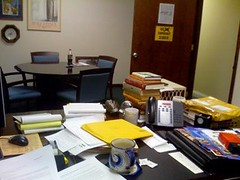 A very busy person's desk