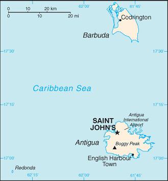 carte Antigua-et-Barbuda