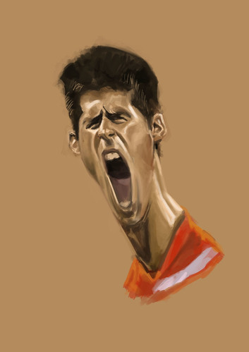 digital caricature of Novak Djokovic - 2