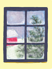 Snow Through the Window (Digital Drawing) by randubnick