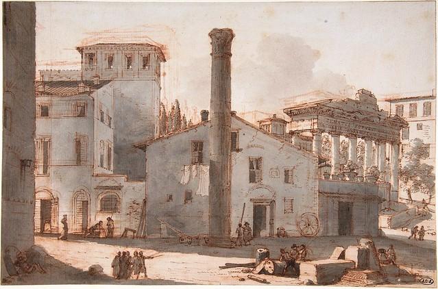 ROMA ARCHEOLOGICA: Veduta del Foro Romano con la Colonna di Foca e il Tempio di Saturno [prima del 1811?]. Victor Jean Nicolle  (French, Paris 1754–1826 Paris). MOMA (2011).