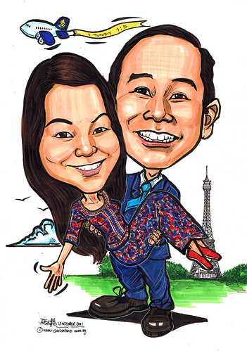 Couple caricatures in SQ uniform @ Eiffel Tower