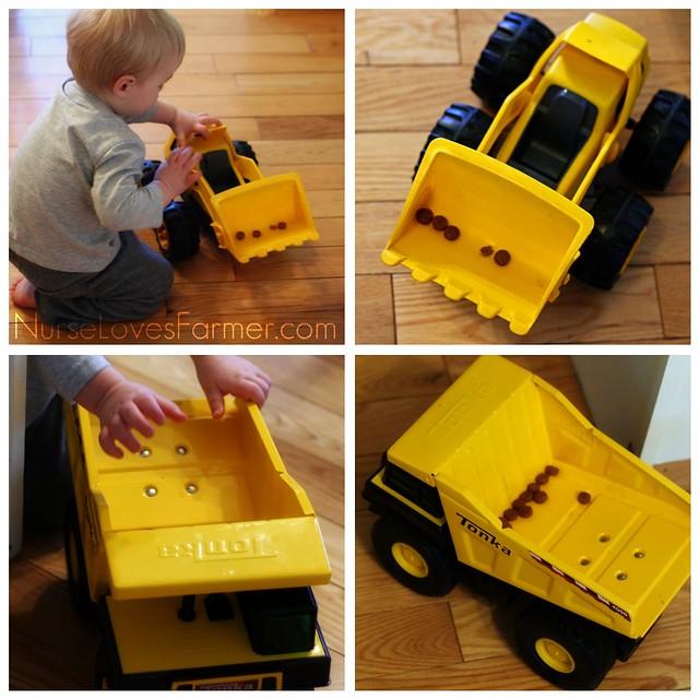 Loader & Dump Truck & Kibbles, Oh My!