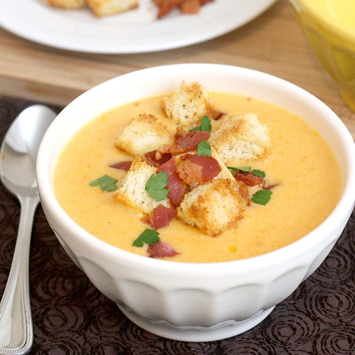 Cheddar Ale Soup with Homemade Croutons