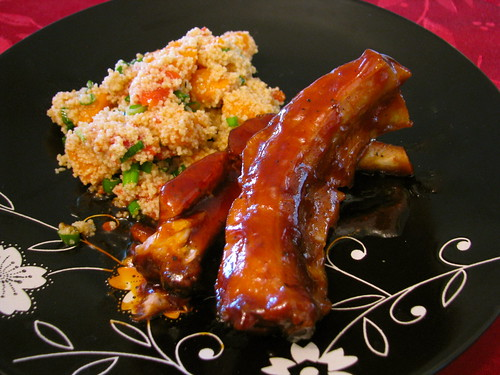 Crockpot Baby Back Ribs and Couscous salad