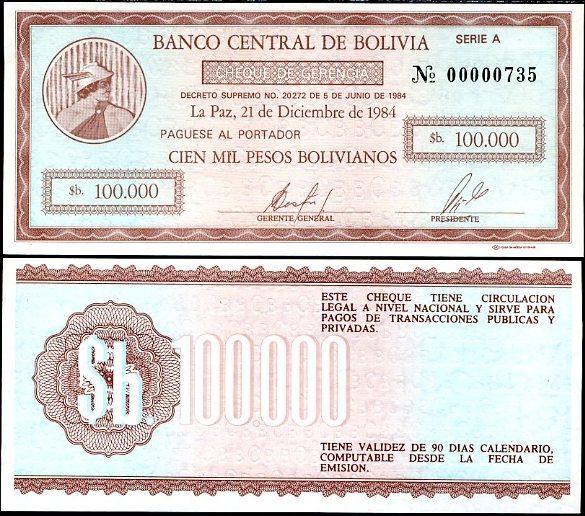 100 000 Pesos Bolivianos Bolívia 1984, Pick 188