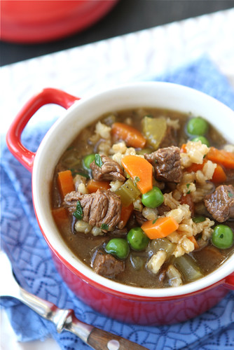 Lean Bison & Barley Soup Recipe with Green Peas