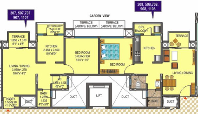 1 BHK Flat - A B - Carpet - (307) 428 sqft & (308) 411 sqft. + Dry Balcony + Terrace
