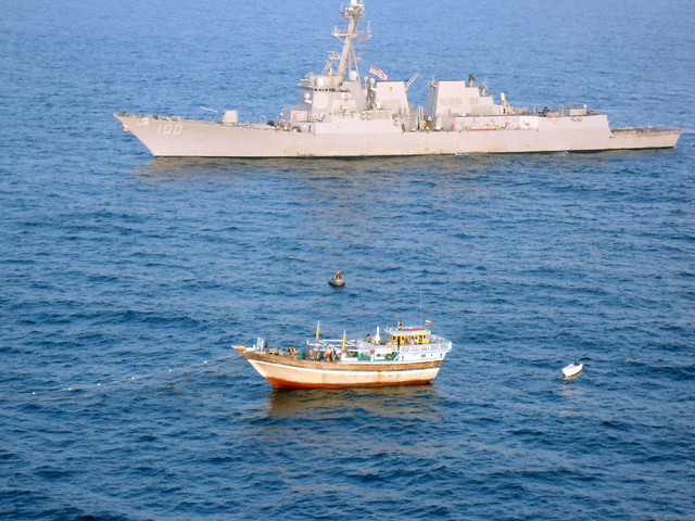 USS Kidd (DDG 100) responds to a distress call from the master of the Iranian-flagged fishing dhow Al Molai