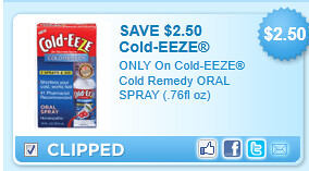 Cold-eeze Cold Remedy Oral Spray (.76fl Oz) Coupon