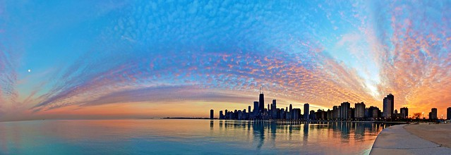 Chicago sunset on a 50 degree day in January