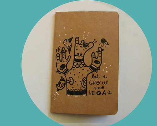 screen printed moleskine by Pinkrain Indie Design