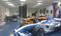 Self storage of Formula 1 simulator cars