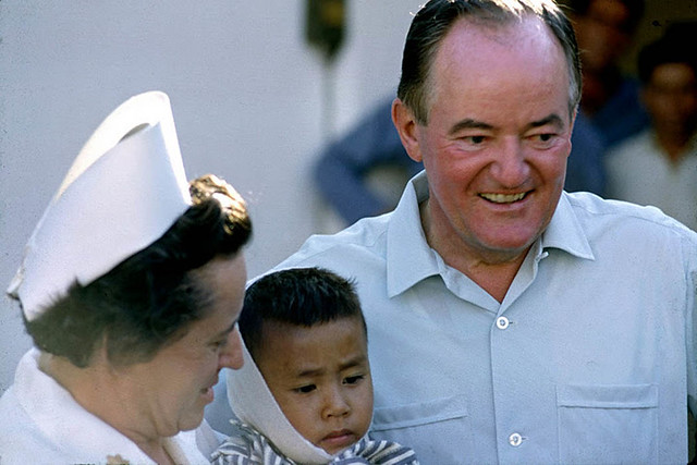 Vice President Hubert Humphrey visiting 3rd Field Hospital