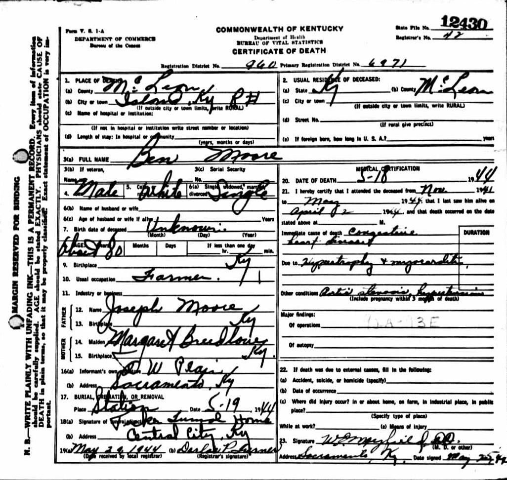 Benjamin A Moore Death Certificate