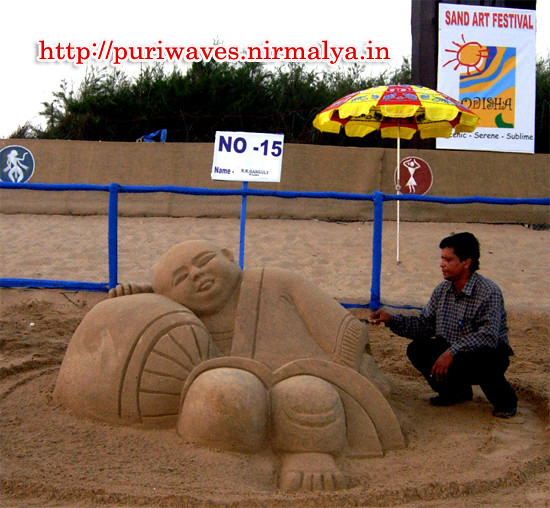 Laughing Buddha Feng Shui by International Sand Artist Ranjan kumar Ganguly