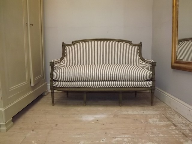 Reupholstered french antique sofa louis xvi style flickr photo sharing Reupholster loveseat