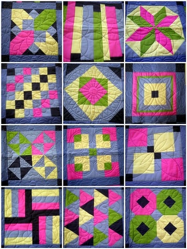 Modern Solids Quilt - Close Up of Quilting Done by Barb Raisbeck of QuiltsbyBarb