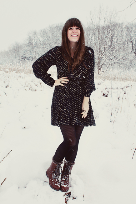 Selective Potential, polka dot dress, boots, snow, winter
