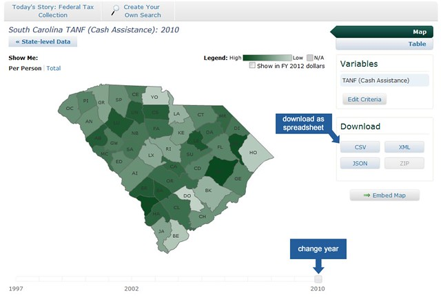 South Carolina per-person TANF money FY 2010