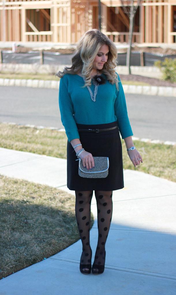 polka dot tights outfit idea