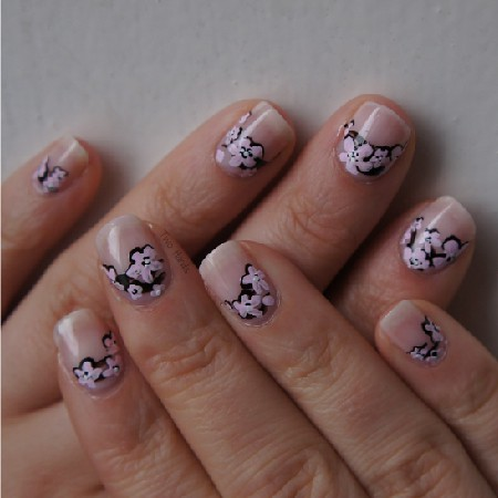 Japanese Flowers nail art
