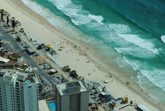 Photos on Surfers Paradise Beach taken from in front of Cavill Avenue Mall at 7.41am    Aerial photos taken from Q1 Skydeck of beach in front of Cavill Avenue Mall. Taken at 9.10am with high tide line visable.