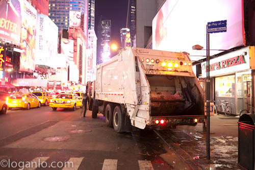 Garbage truck in Times Square, NYC