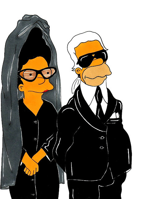 Marge Simpson and Homer Simpson. Diane Pernet and Karl Lagerfeld