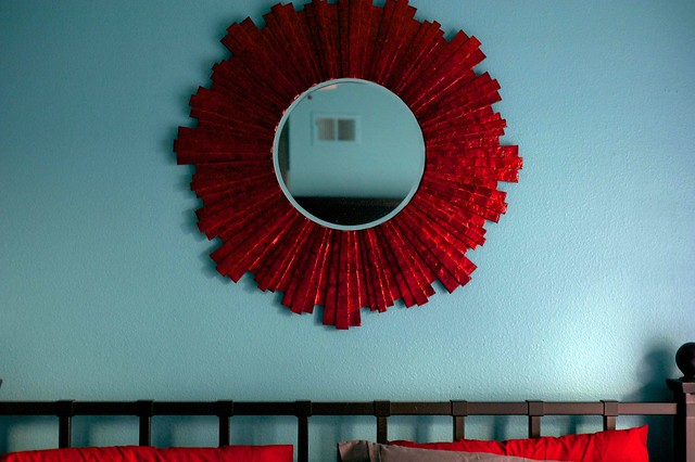 Aqua and Red Master Bedroom Makeover