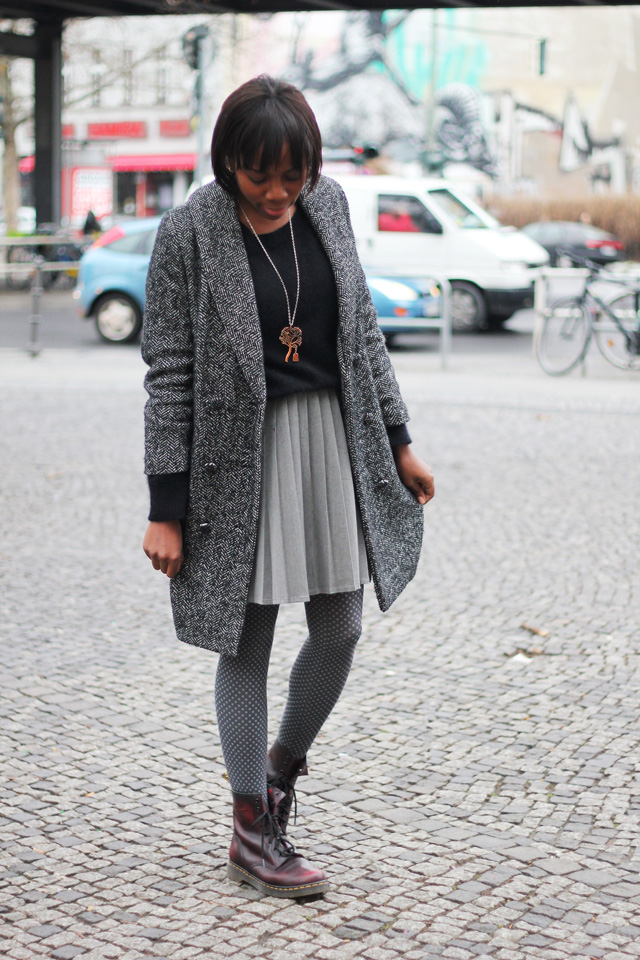h&m coat angora jumper weekday skirt dr martens