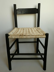 Pickled oak and white willow chair