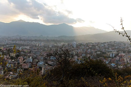 View from up in the sky at Swayambhunath