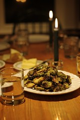 Roasted Brussels Sprouts with Maple-Mustard Glaze and Skillet Stuffing