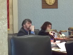 Michael Patrick Carroll listens to rabbi's testimony