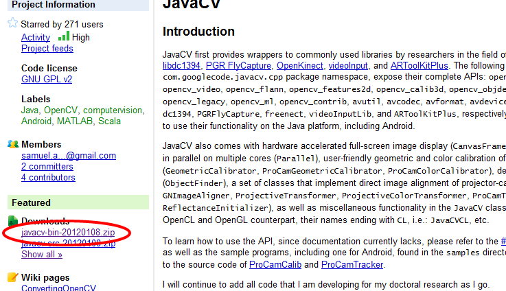javacv   Java interface to OpenCV and more   Google Project Hosting