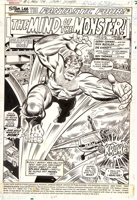 Rich Buckler original art splash page to Giant-Size Superstars 1