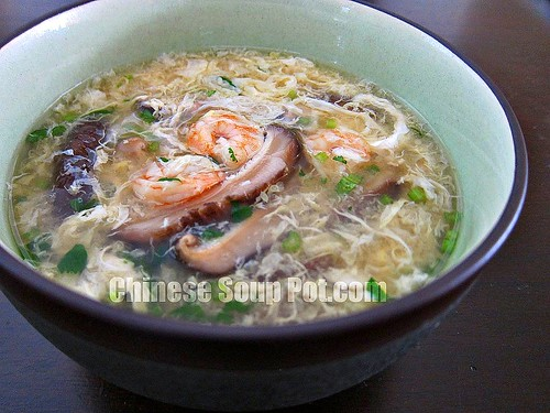 [Photo-Bowl of Egg Drop Soup with Shrimp and Cilantro]